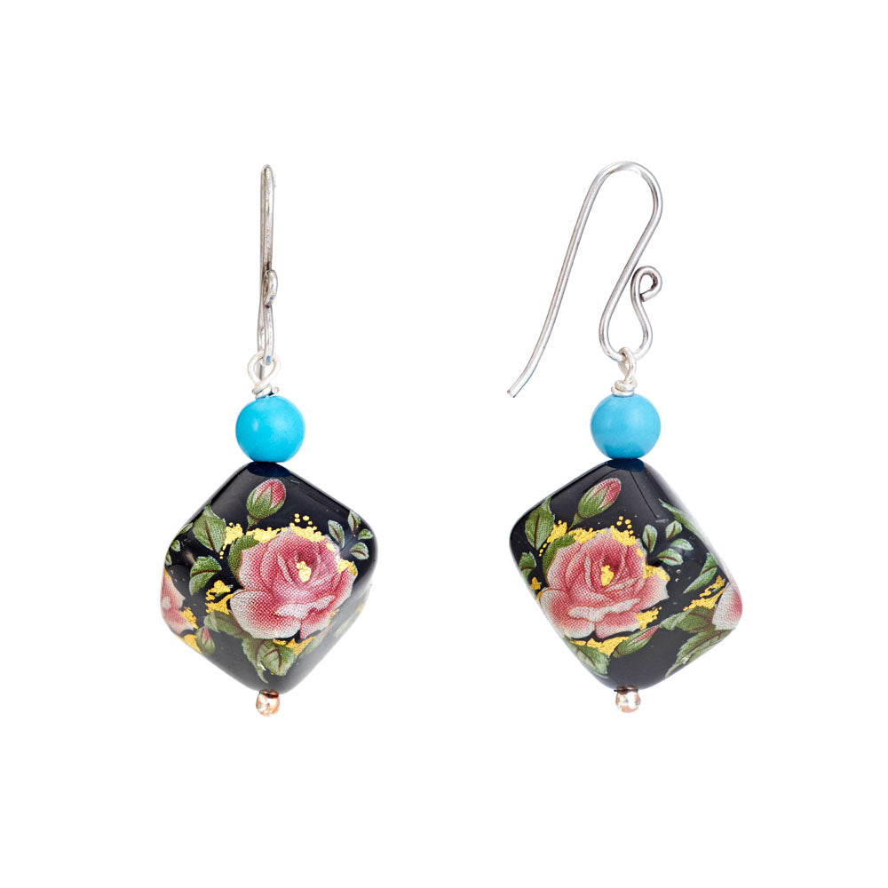 Hep Audrey Square Black Printed Pearl Earrings with Turquoise 2