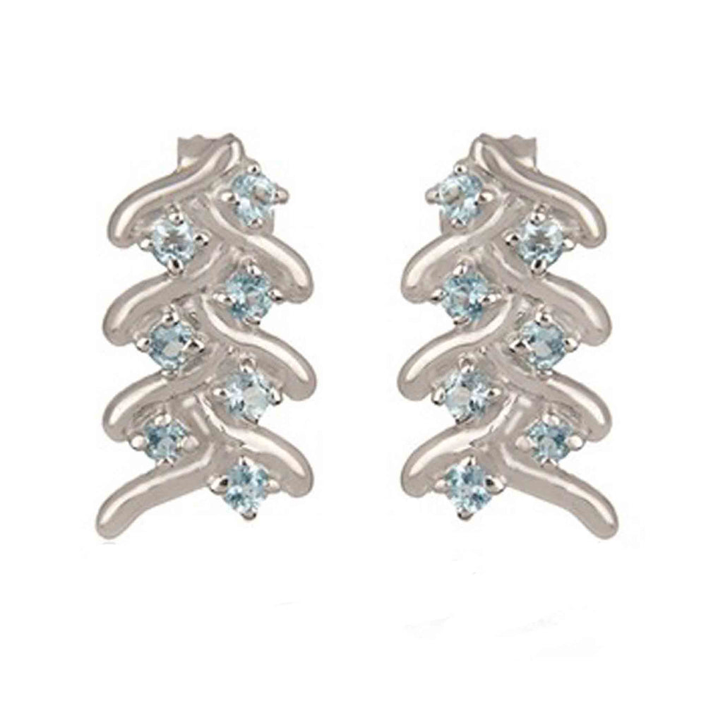 Buy Online London UK - Artisan Collection French Braid Sterling Silver Earrings with Blue Topaz 1