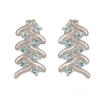 Buy Online London UK French Braid Sterling Silver Earrings with Blue Topaz