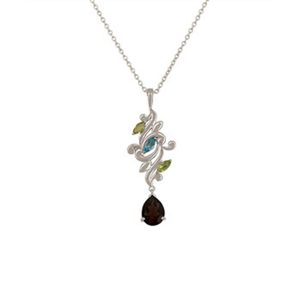 Buy online Aurora Collection Peridot, Blue Topaz and Smoky Quartz Pendant Chain 1