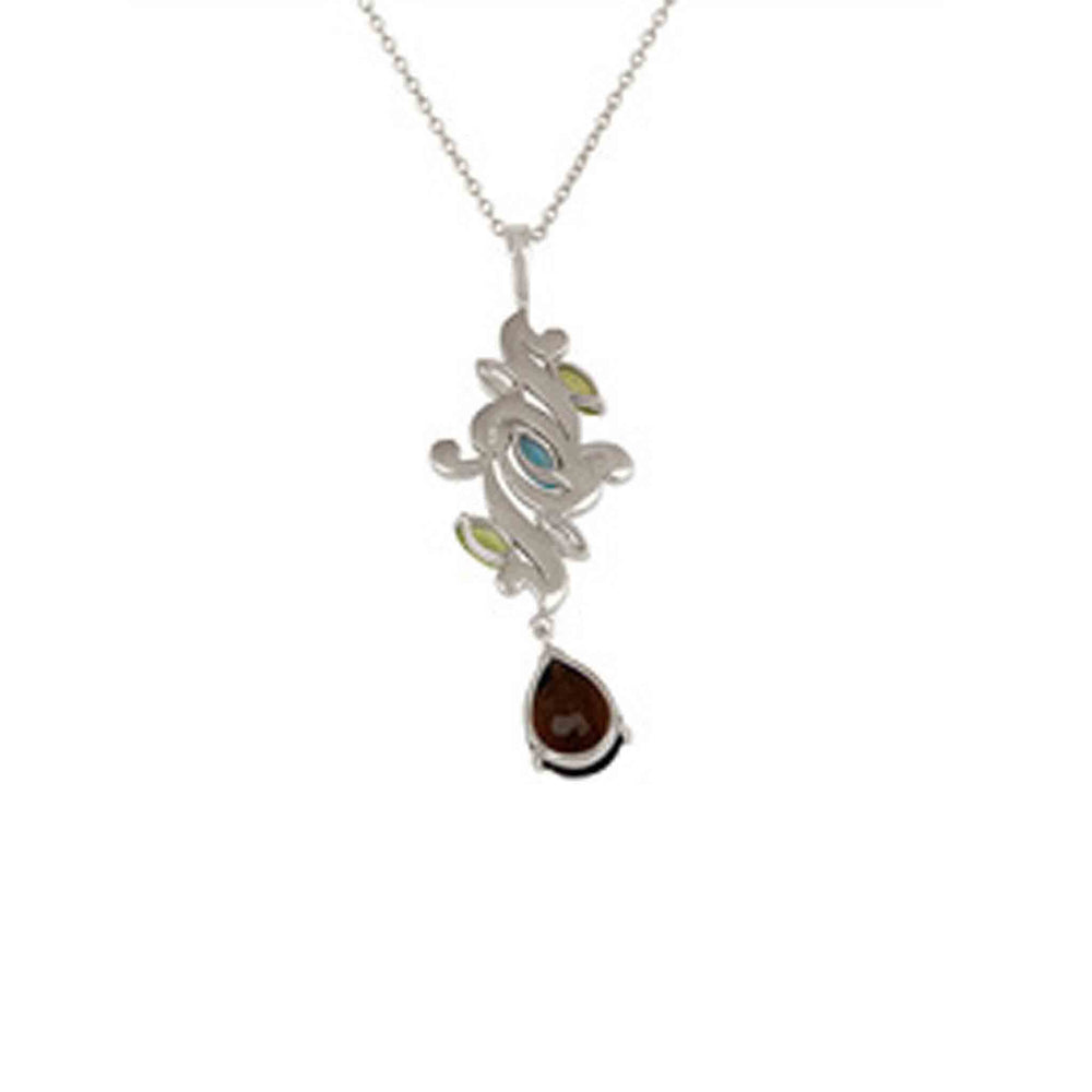 Buy Online 18 ct Necklace - Aurora Collection Peridot, Blue Topaz and Smoky Quartz Pendant Chain UK