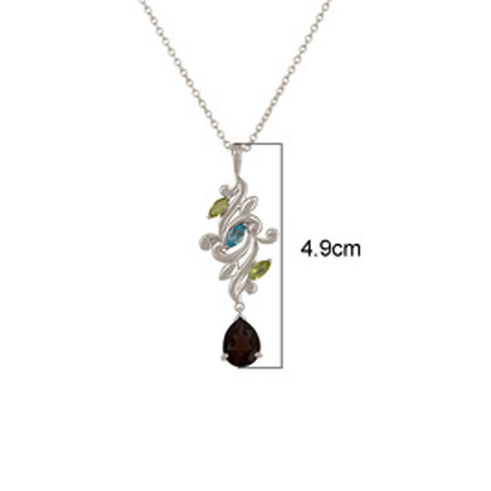 Buy 18ct Gold Pendant NecklaceOnline- Aurora Collection Peridot, Blue Topaz and Smoky Quartz Pendant Chain 3