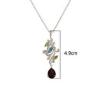 Buy 18ct Gold Pendant NecklaceOnline- Aurora Collection Peridot, Blue Topaz and Smoky Quartz Pendant Chain UK