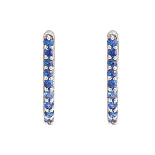 Hep Audrey Shoop Collection Handmade Blue Sapphire 18ct White Gold Earrings UK
