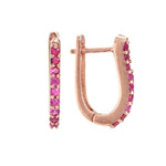 Shoop Handmade Resplendent Ruby 18ct Rose Gold Earrings