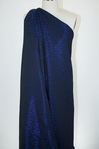 NY Designer Filigree Brocade -Deep Royal Blue/Black