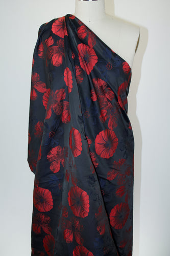Anne Kle!n Poppy Passion  Brocade - Red/Navy/Black