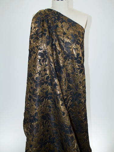 Haute NY Designer Floral Cloqué - Black/Antique Gold