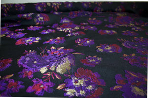 Italian Couture Designer Floral Pongee Brocade - Purple/Red/Gold on Black