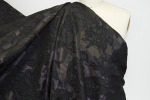 Haute NY Designer Floral Embroidered Brocade - Black