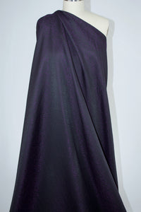 NY Designer Satin Jacquard Brocade-  Black/Purple