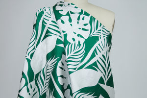 Leafy Greens Reversible Jacquard Brocade- Green/White