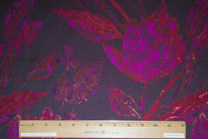 Haute NY Designer Floral Metallic Brocade - Magenta/Gold/Purple on Black