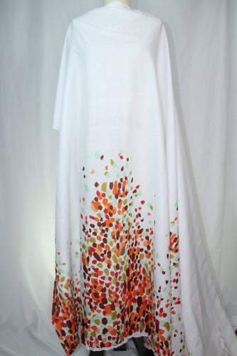 Anne Kle!n Falling Leaves Border Cotton Lawn - Warm Tones on White
