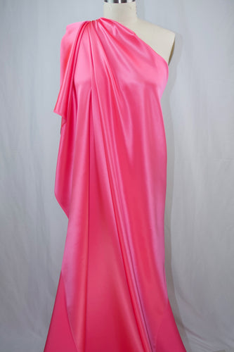 Italian Silk Crepe Back Satin - Barbie Pink