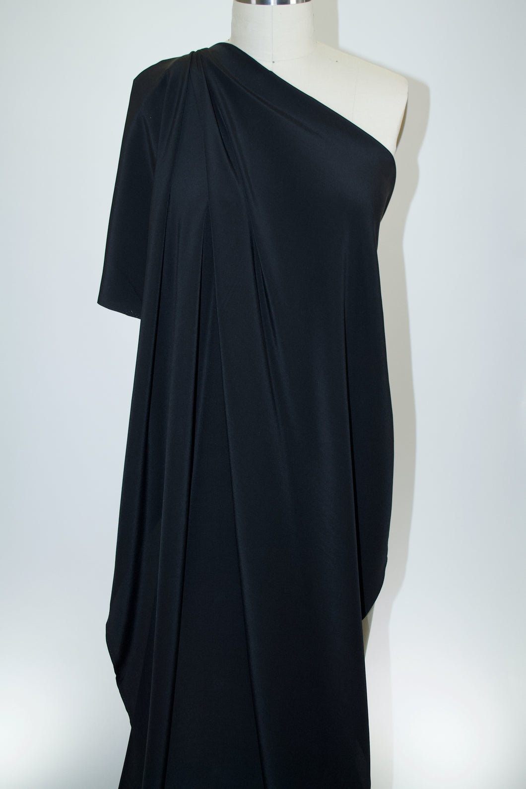 Italian Stretch Silk Crepe de Chine - Black