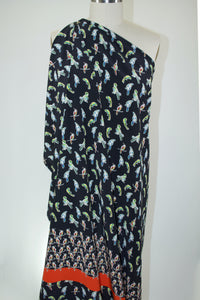 1 panel of For the Birds Italian Silk Crepe de Chine Panel Print - Multi on Black - AS IS