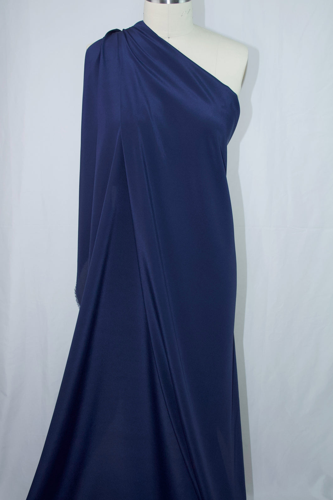Wide! Designer Silk Crepe de Chine - Bright Navy Blue
