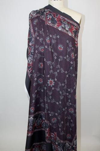 NY Designer Panel Print Silk Twill - Raisin/Red/Aqua/Pastel Peach