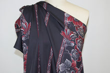 "NY Designer Floral ""Striped"" Silk Twill - Raisin/Red/Aqua/Pastel Peach"