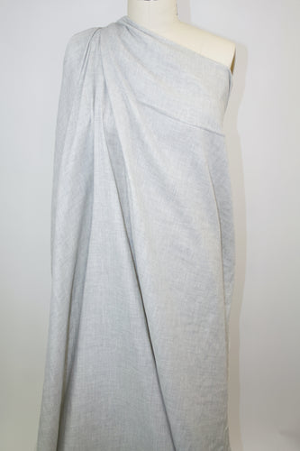 Italian Cotton Gauze Double Cloth - Pale Gray/Natural