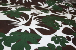 Bold Hibiscus Italian Cotton Faille - Chocolate/Forest/White