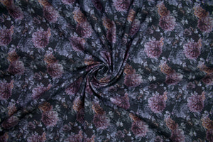 Midnight Roses Brushed Cotton Twill - Purple Tones