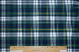 RL Gordon Plaid 100% Cotton Flannel Twill - Green/Blue/Yellow/White