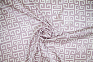 1 1/8 yards of Greek Key Italian Silk Charmeuse - Mauve Shadow/White