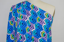 Italian Reverse Printed Silk Charmeuse - Blues/Purple/Chartreuse/White