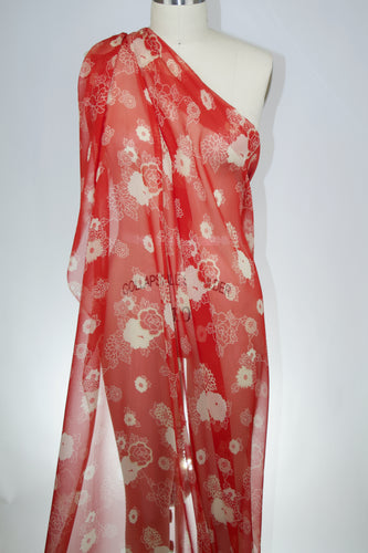 Calamo Chrysanthemum Print Silk Chiffon - Red/Ivory/Off-White
