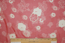1 1/2+ yards of Calamo Chrysanthemum Print Silk Chiffon - Red/Ivory/Off-White