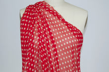~2 1/2 yards of Calamo Medium Polka Dot Print Silk Chiffon - Red/Off-White