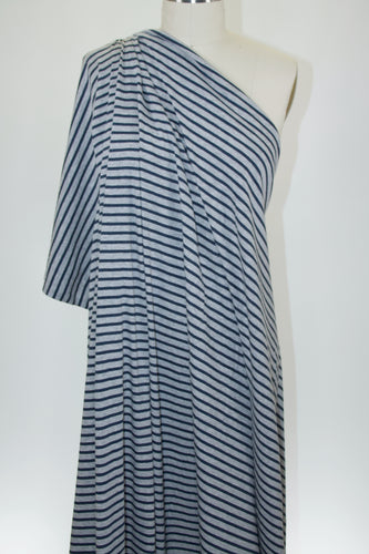 100% Cotton Striped Jersey - Navy on Gray