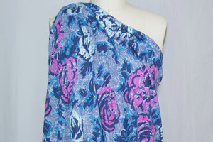 Haute Athletic Designer Floral Cotton Sweatshirt Knit - Blues