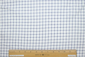 100% Cotton Windowpane Check Knit - Navy on White