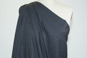 Small Houndstooth Cotton Jacquard Shirt Weight - Black/Gray