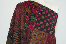Sashiko-Style Patchwork Kantha Double Cloth - Multi/Brown