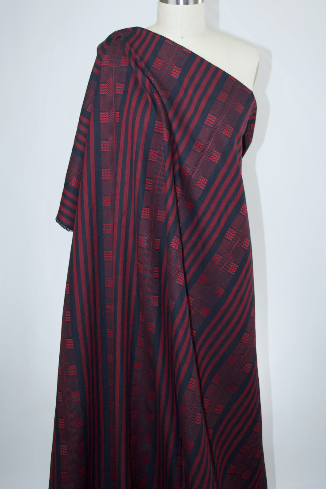 Tribal Style Cotton Jacquard - Red/Black
