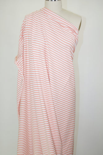 2 yards of Beefy Striped Cotton Lycra Jersey - Peach/White