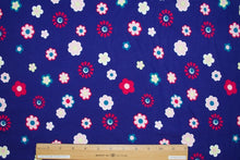 Floral Fun Time Cotton Lycra Jersey - Multi on Blue