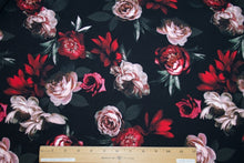 Cabbage Rose Cotton Lycra Jersey - Red Tones on Black