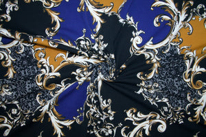 Victorian Vines Cotton Lycra Jersey - Blue/Gold/Black/White