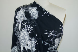 1 1/4+ yards of Bold Floral Cotton Lycra Jersey - Black/Ivory