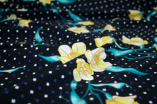 Squared Off Floral Cotton Lycra Jersey - Teals/Yellows/Blue/White/Black