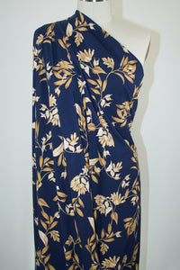 Autumn Leaves Cotton Jersey - Golds on Navy