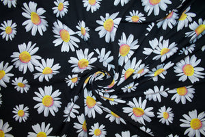 Everything's Coming Up Daisies Cotton Lycra Jersey - Black/White/Yellow/Magenta