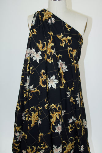 Florals and Delicate Chains Cotton Lycra Jersey - Gold Tones on Black