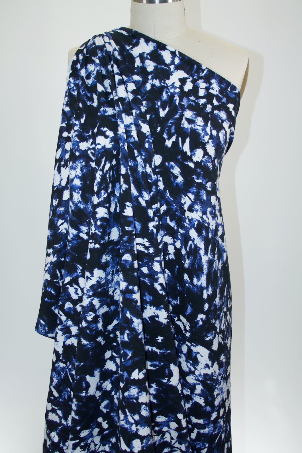 Abstract Print Cotton/Lycra Jersey - Blue/Black/White
