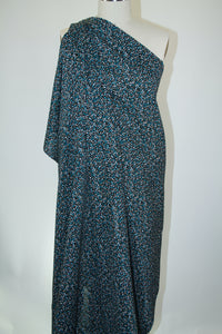 Anne Kle!n Teeny Floral Cotton Lawn - Blue/Green/Tan on Black